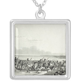 The Eskimoes Pillaging the Boats Square Pendant Necklace