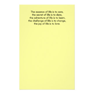 The essence of life is to care,the secret of li... stationery
