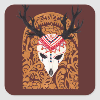 The Ethnic Deer Head Square Sticker