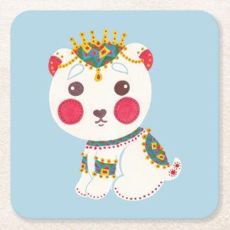 The Ethnic Polar Bear Square Paper Coaster