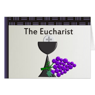 The Eucharist Chalice and Grapes Design Greeting Card