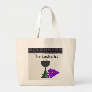 The Eucharist Chalice and Grapes Design Large Tote Bag