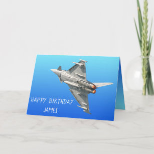 Gold Fighter Jet Palne Personalised Birthday Greetings Card