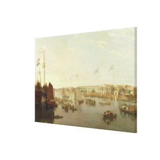 The European Factories, Canton, 1806 (oil on canva Canvas Print