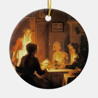 The Evening Meal, c.1900 (oil on canvas) Round Ceramic Decoration