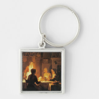 The Evening Meal, c.1900 (oil on canvas) Silver-Colored Square Key Ring