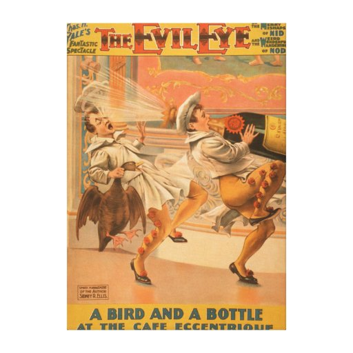 "The Evil Eye ""A Bird & a Bottle"" Theatre Stretched Canvas Print"