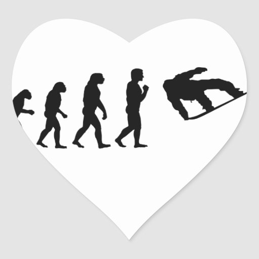 The Evolution Snowboarding Heart Stickers