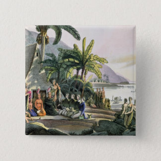 The Expedition Party and King Kamehameha I 15 Cm Square Badge