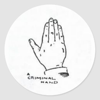 The expert AT the card table (Criminal Hand) Round Sticker