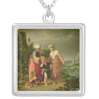 The Expulsion of Hagar, 1612 Square Pendant Necklace
