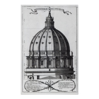 The exterior of the dome of St. Peter's, Rome Poster