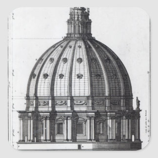 The exterior of the dome of St. Peter's, Rome Square Sticker