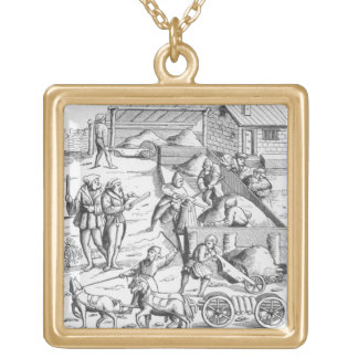 The extraction of metals, after a woodcut in 'Cosm Gold Plated Necklace