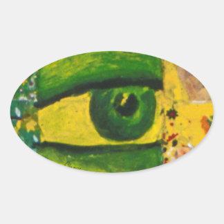 The Eye - Gold Emerald Awareness Oval Sticker