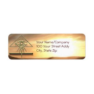The Eye of Providence on Gold Return Address Label