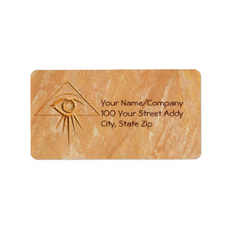The Eye of Providence on Stone Address Label
