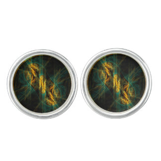 The Eye of the Jungle Abstract Art Silver Plated Cufflinks