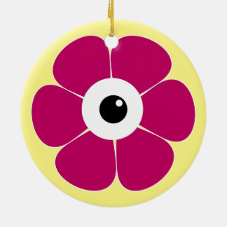 the eye of the pink flower christmas ornament