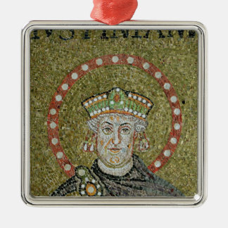 The face of Justinian Silver-Colored Square Decoration
