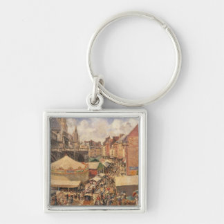 The Fair in Dieppe, Sunny Morning, 1901 Silver-Colored Square Key Ring