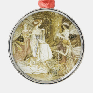 The Fairy Jewels Round Metal Christmas Ornament