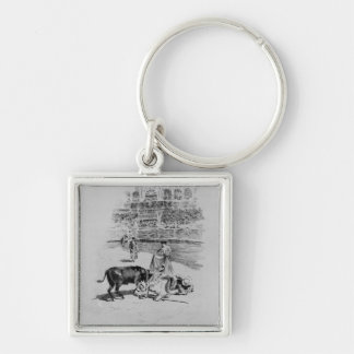 The Fall of a Picador Silver-Colored Square Key Ring