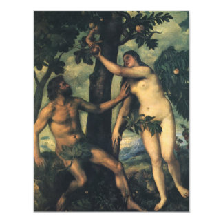 The Fall of Man; Adam and Eve by Titian 11 Cm X 14 Cm Invitation Card