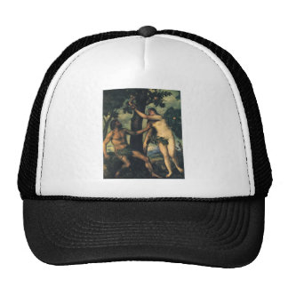The Fall of Man; Adam and Eve by Titian Cap