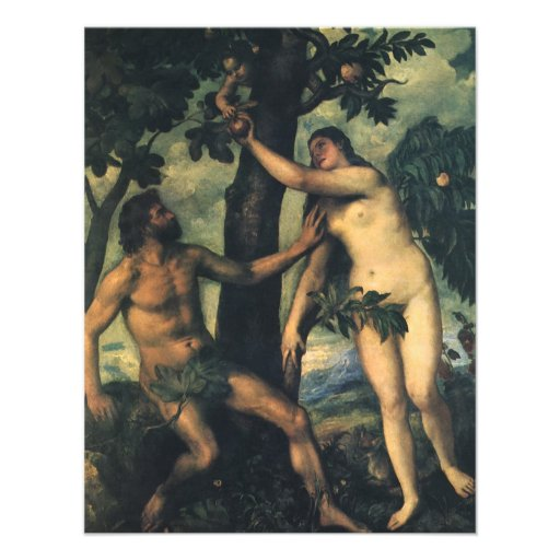 The Fall of Man; Adam and Eve by Titian Personalized Announcements