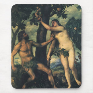 The Fall of Man; Adam and Eve by Titian Mouse Pad