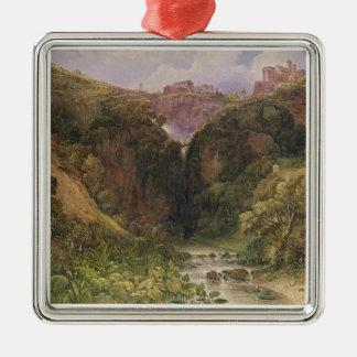 The Falls of Tivoli Silver-Colored Square Decoration