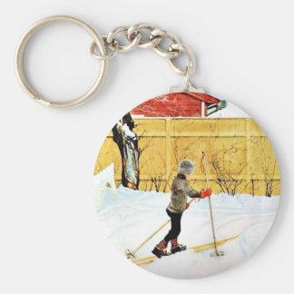 The Falun Yard - little boy on skis Key Chain
