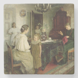 The Family of the Artist, 1895 Stone Beverage Coaster