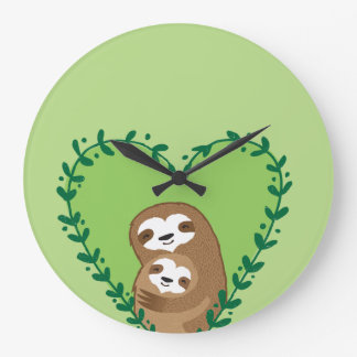 The Family Sloth Large Clock