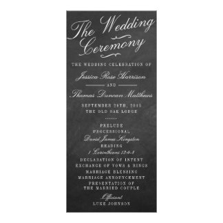 The Fancy Chalkboard Wedding Collection Programs Personalized Rack Card