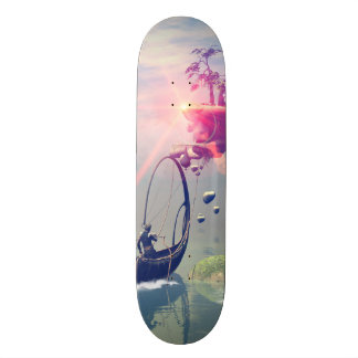 The fantasy world with flying rocks skateboards