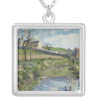 The Farm at Osny, 1883 Silver Plated Necklace