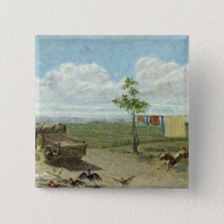 The Farmyard (oil on canvas) 15 Cm Square Badge