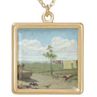 The Farmyard (oil on canvas) Gold Plated Necklace
