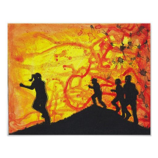 The Fast Kind Zombie silhouette Horror art poster
