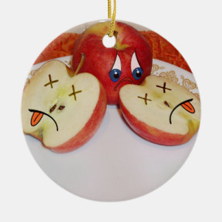 The Fate of a Juicy Apple Round Ceramic Decoration