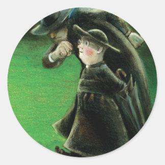 The Father Brown Reader Illustration Round Sticker