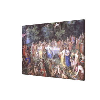 The Feast of the Gods (oil on canvas) Canvas Print
