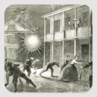 The Federals shelling the City of Charleston Square Sticker