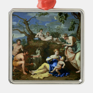 The Feeding of the Child Jupiter, c.1640 Silver-Colored Square Decoration