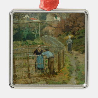 The Fence, 1872 (oil on canvas) Christmas Ornament