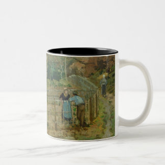 The Fence, 1872 (oil on canvas) Two-Tone Coffee Mug