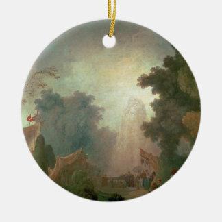 The Fete at Saint-Cloud (oil on canvas) (for detai Round Ceramic Decoration