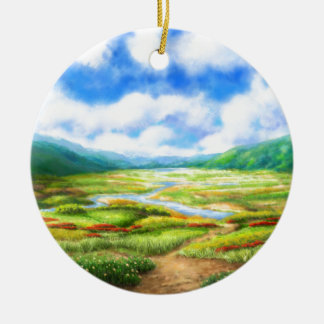 The Fields Are Teeming With Mellow Round Ceramic Decoration